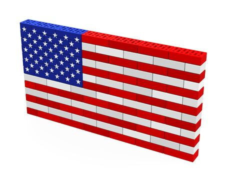 trump: American Flag Brick Wall Isolated Stock Photo