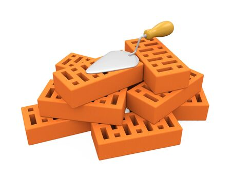 Bricks and Trowel Isolated