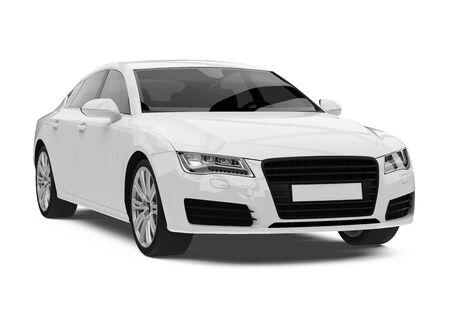 흰색 세단 차 절연 스톡 콘텐츠 - 85437071