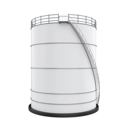 White Industrial Oil Tank Isolated