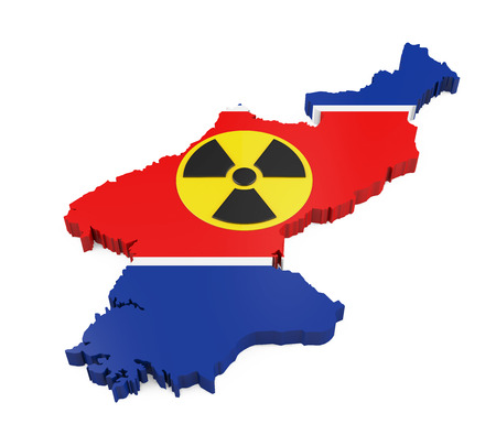 radioactive sign: North Korea Map with Nuclear Sign Stock Photo