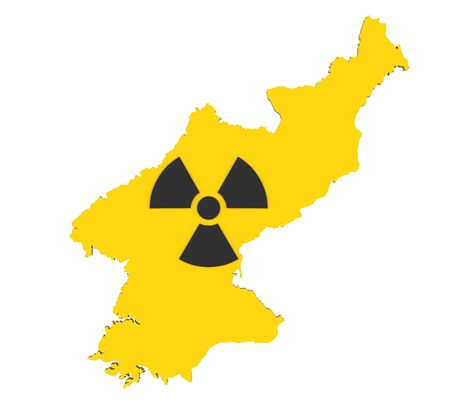 North Korea Map with Nuclear Sign Stock Photo