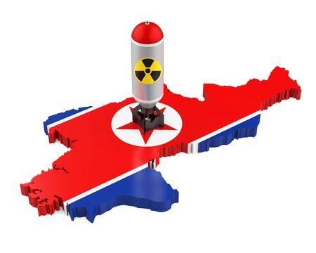 核兵器で北朝鮮地図 写真素材