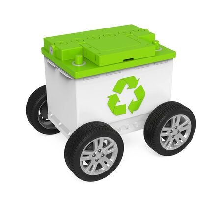 Recycle Car Battery with Wheels Isolated