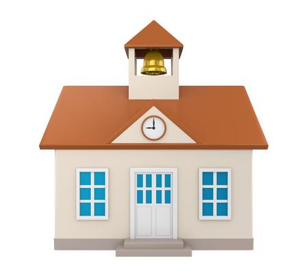 고립 된 학교 건물 아이콘