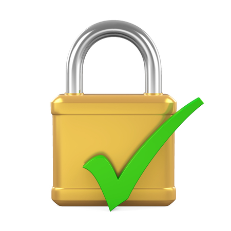Padlock with Check Mark Isolated Stock Photo