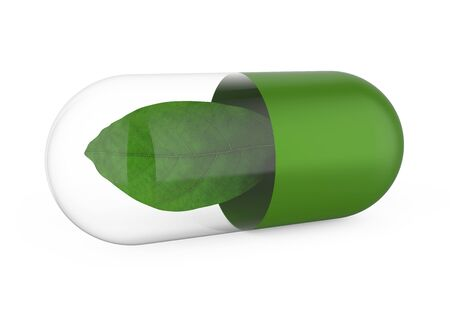 healing: Capsule with Green Leaf Isolated