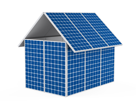 residential homes: House Solar Panel Isolated