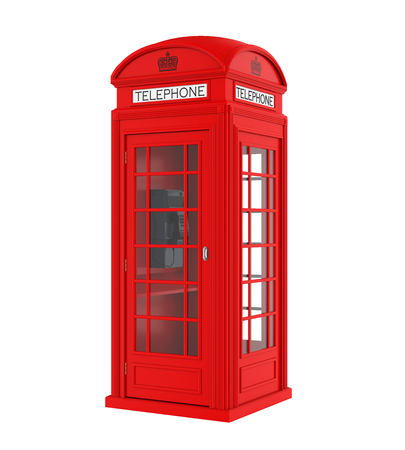 British Red Telephone Booth Isolated