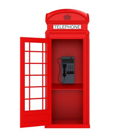 Cabina telefonica rossa britannica con porta aperta
