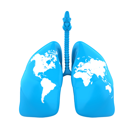 Lung with World Map Isolated