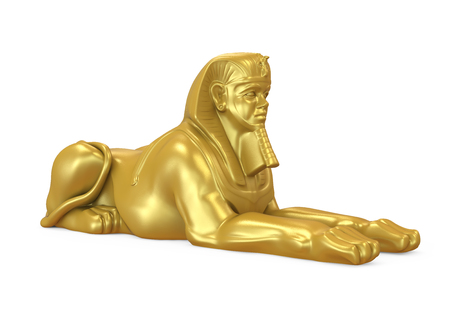 Golden Egyptian Sphinx Statue Isolated Stock Photo