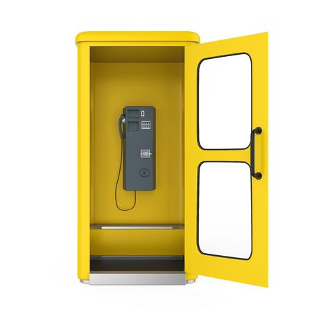 Gele telefooncel met open deur