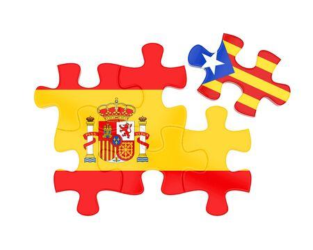 Rompecabezas de banderas de España y Cataluña aislado Foto de archivo - 88331942