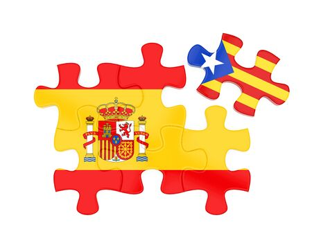 madrid spain: Spain and Catalonia Flags Puzzle Isolated Stock Photo
