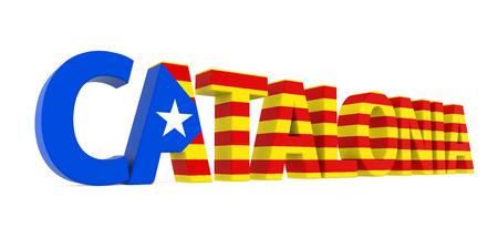 La palabra Cataluña con la bandera nacional aislada
