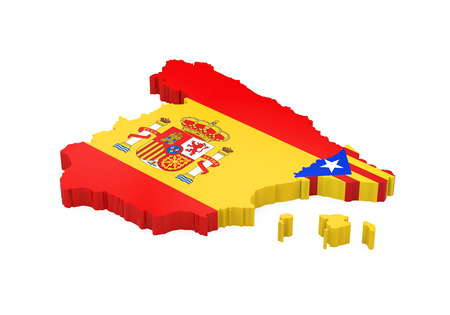 Spain and Catalonia Map Isolated