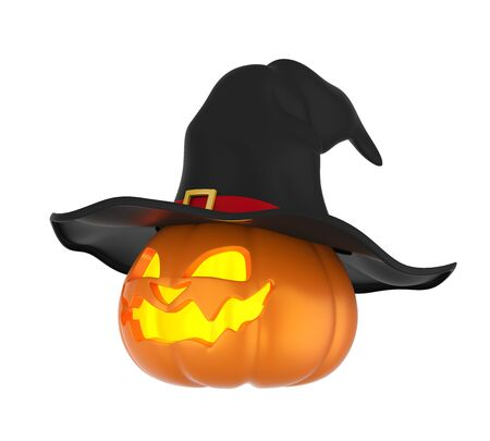 Halloween Pumpkin with Witch Hat Isolated