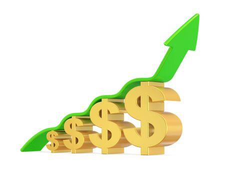 Dollar signe avec flèche vers le haut Banque d'images - 90151566
