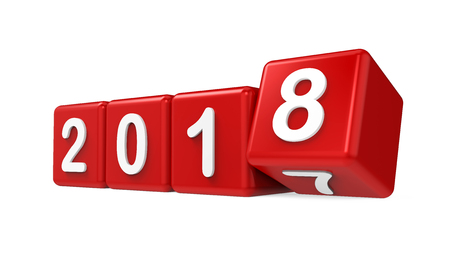 New Year 2018 Concept Isolated Stock Photo