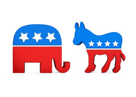 Democraat ezel en Republikeinse olifant