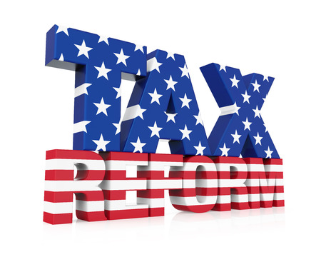 Reforma fiscal con la bandera de Estados Unidos aislada Foto de archivo - 91014287