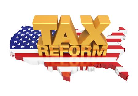 Reforma podatkowa z mapą Stanów Zjednoczonych na białym tle