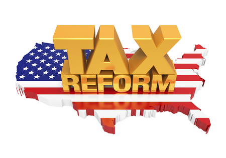 Tax Reform with United States Map Isolated