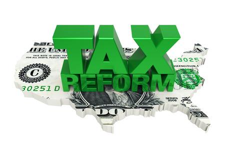 Belastinghervorming met de Dollar van de Kaart van Verenigde Staten Stockfoto - 91111813