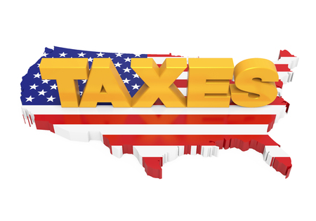 TAXES with United States Map Flag Isolated