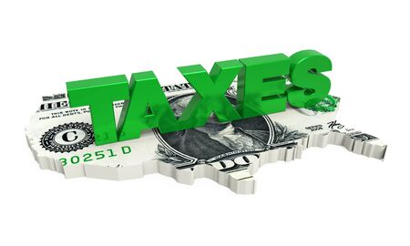 TAXES with United States Map Dollar Isolated