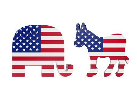 Democrat Donkey and Republican Elephant with United States Flag