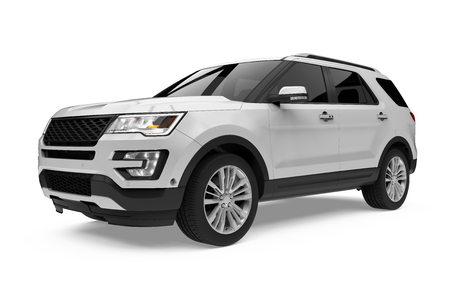 Silver SUV Car Isolated Stock Photo