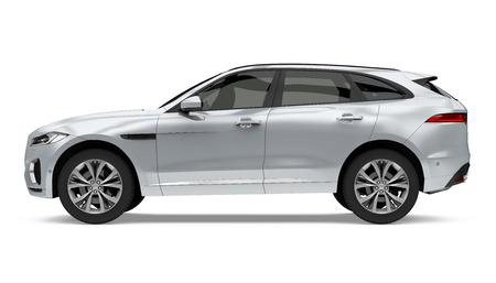 Zilveren SUV auto geïsoleerd Stockfoto