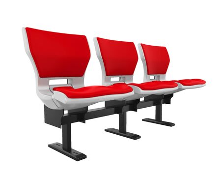 Red Stadium Seats Isolated
