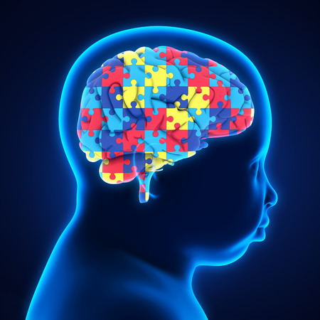 Child Head with Jigsaw Puzzle Brain Stock Photo