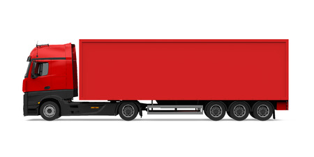 Camion contenitore rosso isolato Archivio Fotografico - 92937099