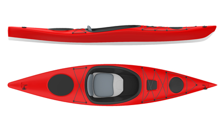 Red Kayak Isolated Фото со стока