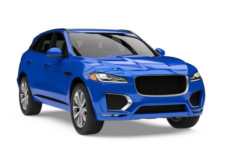 Blauwe SUV auto geïsoleerd