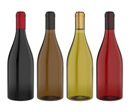 Set of Wine Bottles Isolated Stock Photo