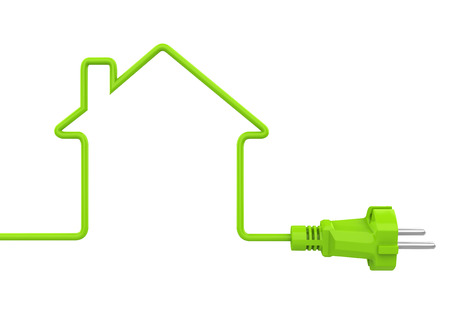 Green Power Plug House Shaped Isolated
