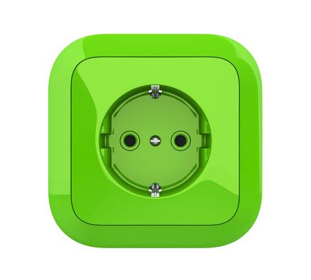 Groene elektrische aansluiting geïsoleerd Stockfoto