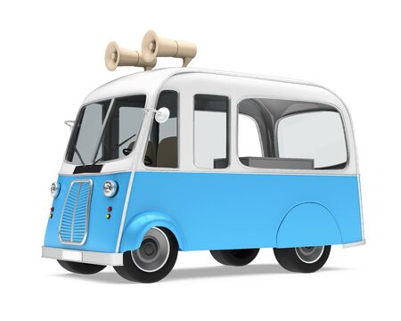 Ice Cream Food Truck Isolated Stock Photo