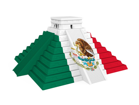 Mayan Pyramid with Mexican Flag Isolated Stock Photo - 94974416
