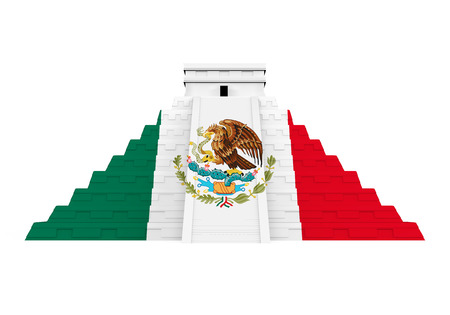 Mayan Pyramid with Mexican Flag Isolated