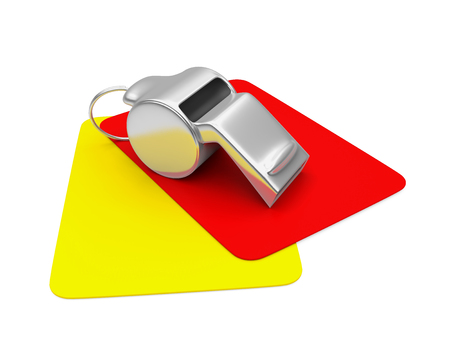 Whistle with Red and Yellow Cards Isolated