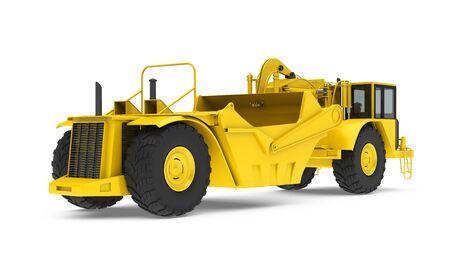 Wheel Tractor Scraper Isolated Stock Photo