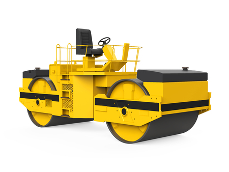 Yellow Road Roller Isolated