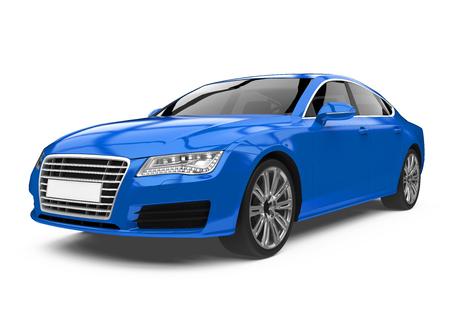 Luxury Blue Sedan Car Isolated Stock Photo