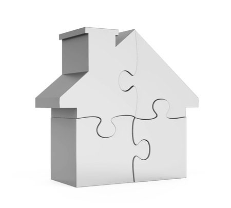 House Puzzle Isolated Stockfoto